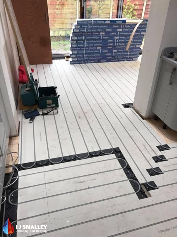 Overlay Spanning Multiple Rooms Underfloor Heating Installation Bolton